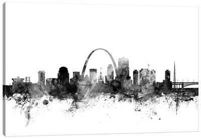 St. Louis, Missouri In Black & White Canvas Art Print