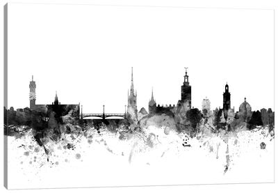 Stockholm, Sweden In Black & White Canvas Art Print
