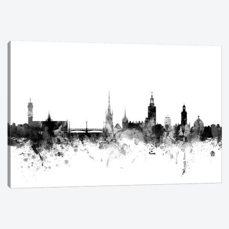 Stockholm, Sweden In Black & White 3-Piece Canvas #MTO911} by Michael Tompsett Canvas Print