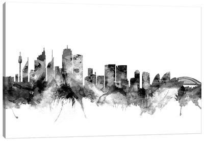 Sydney, Australia In Black & White Canvas Art Print