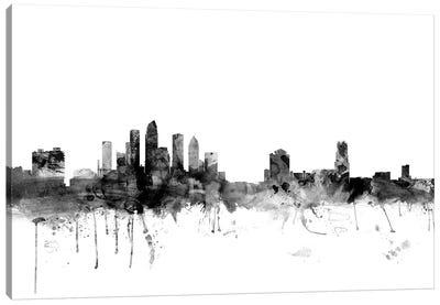 Tampa, Florida In Black & White Canvas Art Print