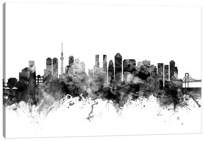 Tokyo, Japan In Black & White Canvas Art Print