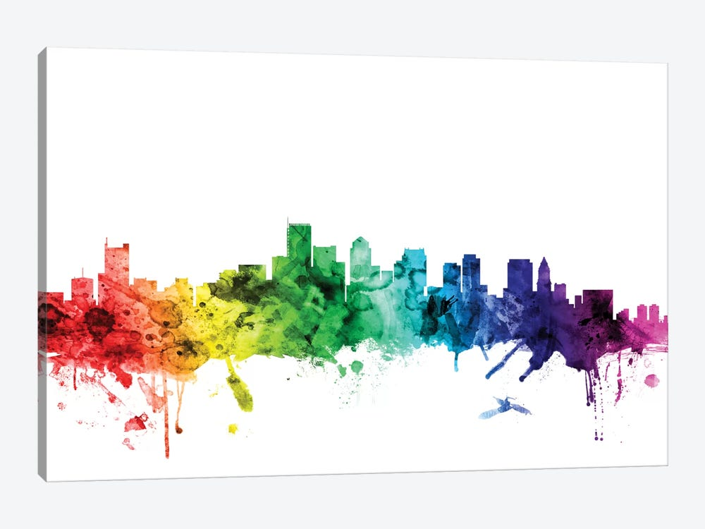 Rainbow Skyline Series: Boston, Massachusetts, USA by Michael Tompsett 1-piece Canvas Print