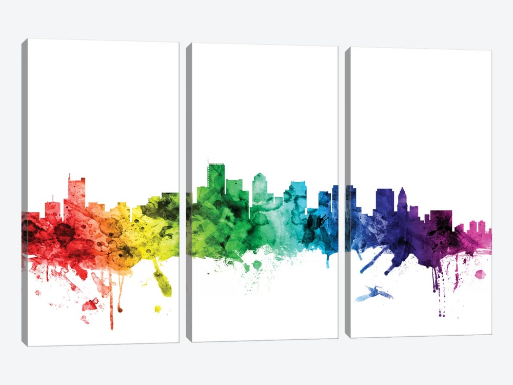 Rainbow Skyline Series: Boston, Massachusetts, USA by Michael Tompsett 3-piece Art Print