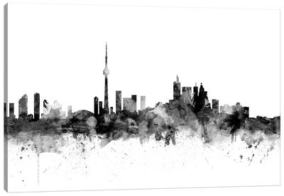 Toronto, Canada In Black & White Canvas Art Print