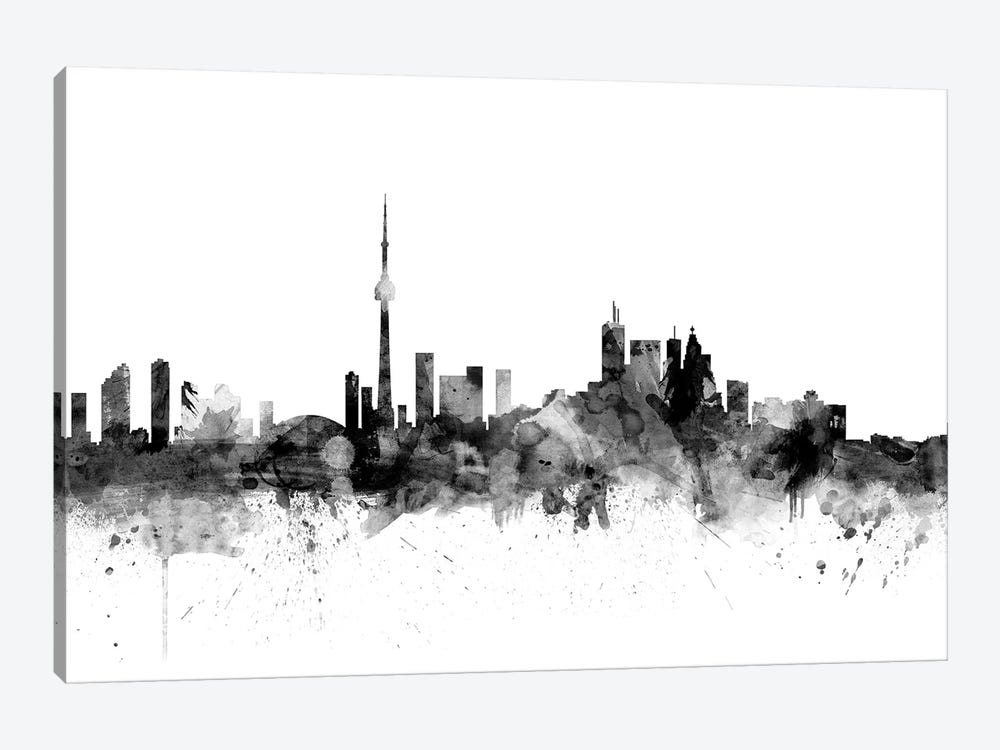 Toronto, Canada In Black & White by Michael Tompsett 1-piece Canvas Art Print