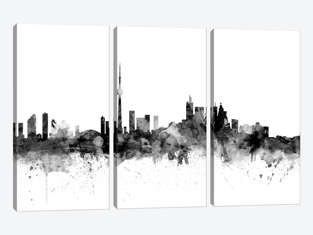 Toronto, Canada In Black & White by Michael Tompsett 3-piece Canvas Print