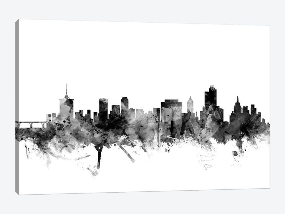 Tulsa, Oklahoma In Black & White by Michael Tompsett 1-piece Canvas Print