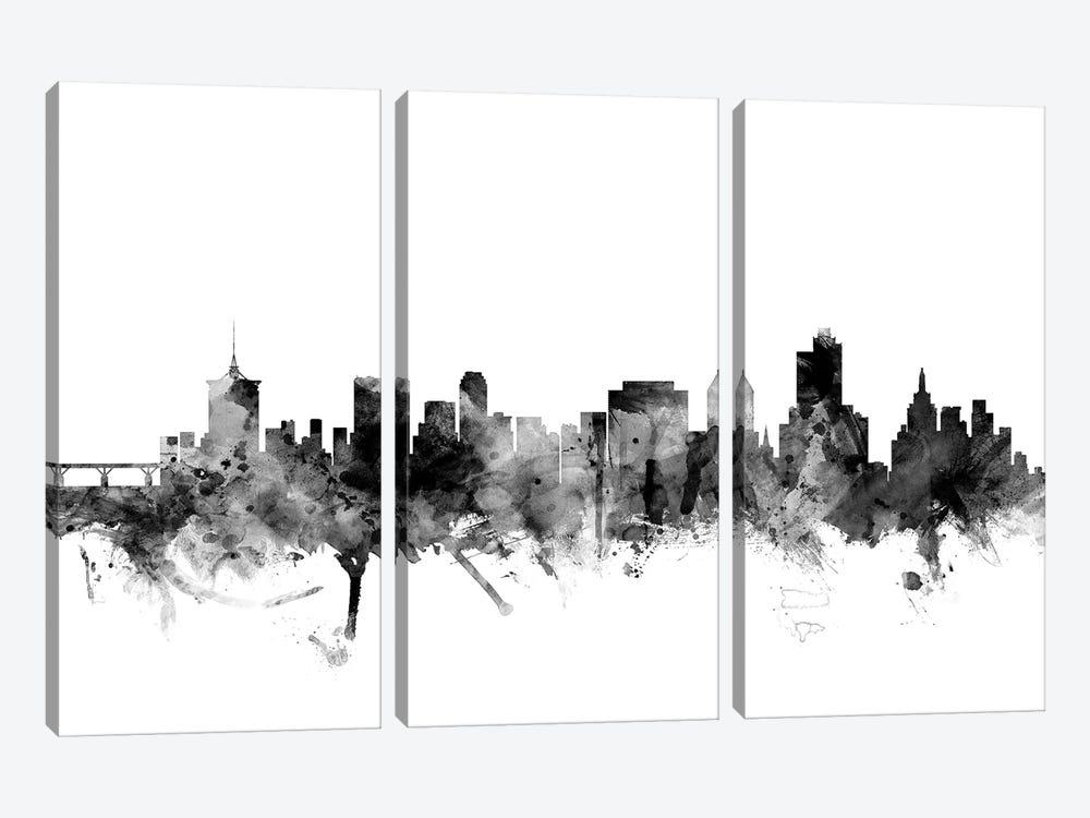 Tulsa, Oklahoma In Black & White by Michael Tompsett 3-piece Canvas Art Print