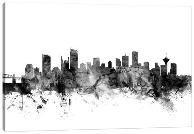 Vancouver, Canada In Black & White Canvas Art Print
