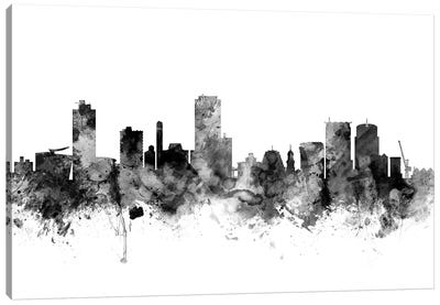 Wellington, New Zealand In Black & White Canvas Art Print