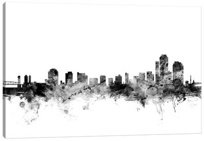 Wilmington, Delaware In Black & White Canvas Art Print
