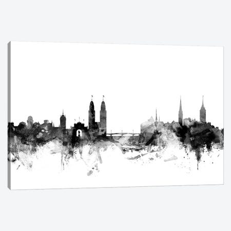 Zurich, Switzerland In Black & White Canvas Print #MTO936} by Michael Tompsett Canvas Wall Art