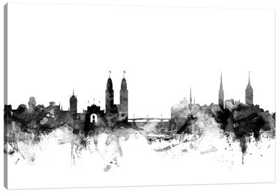 Zurich, Switzerland In Black & White Canvas Art Print