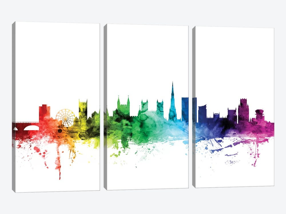 Rainbow Skyline Series: Bristol, England, United Kingdom 3-piece Art Print