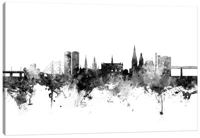 Dundee, Scotland Skyline In Black & White Canvas Art Print