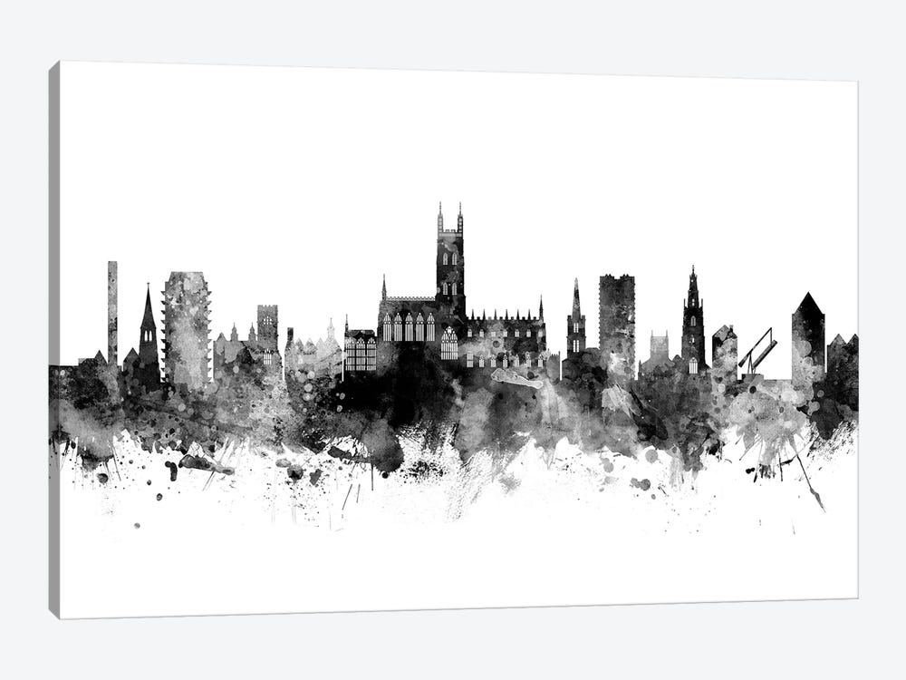 Gloucester, England Skyline In Black & White by Michael Tompsett 1-piece Canvas Print