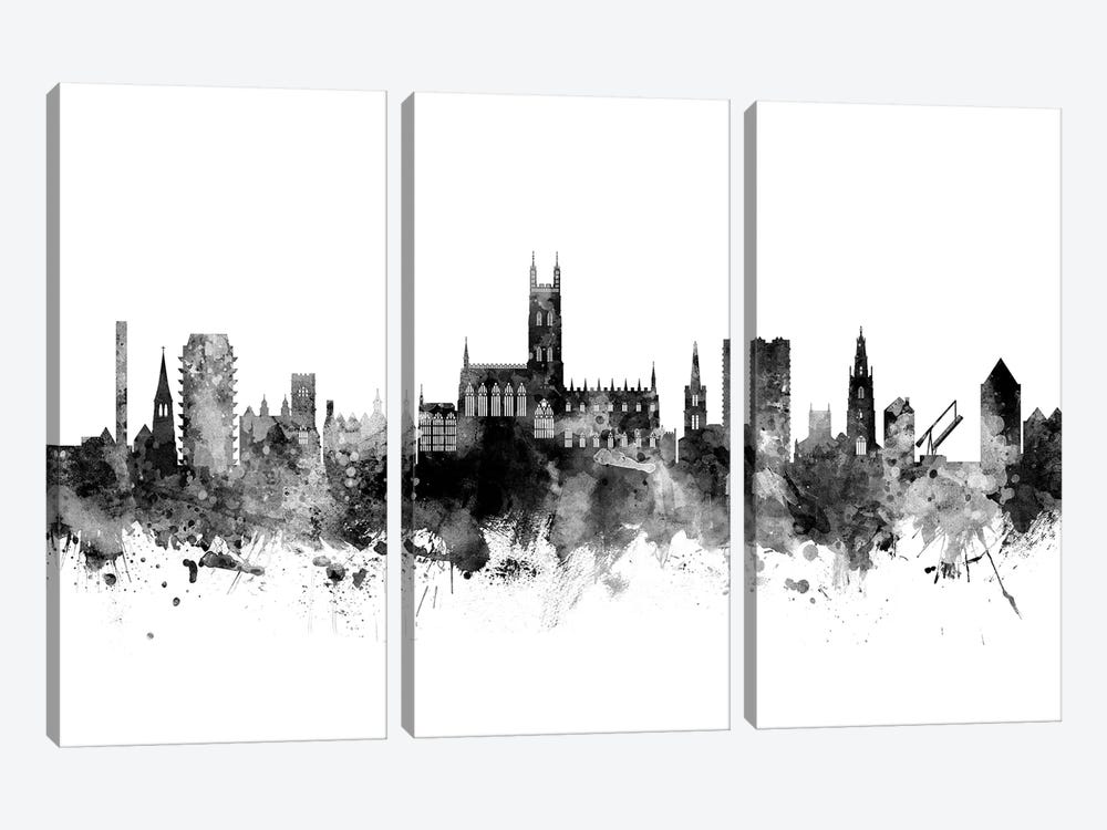 Gloucester, England Skyline In Black & White by Michael Tompsett 3-piece Canvas Print