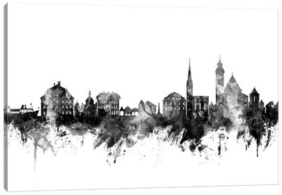 Hallstatt, Austria Skyline In Black & White Canvas Art Print