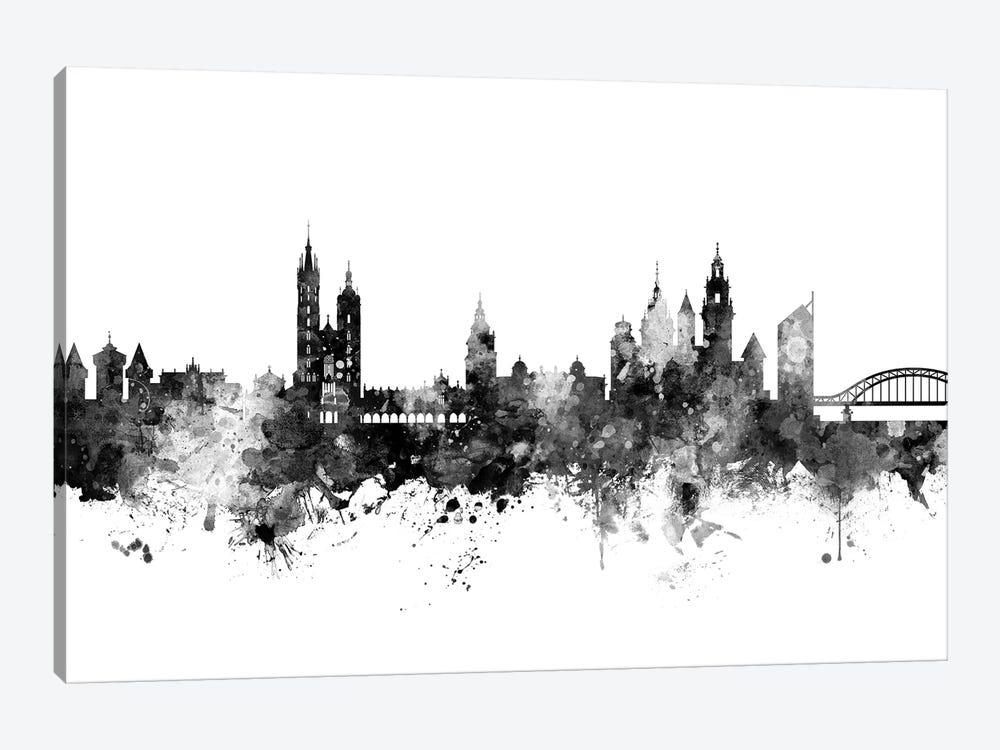 Krakow, Poland Skyline In Black & White by Michael Tompsett 1-piece Canvas Art