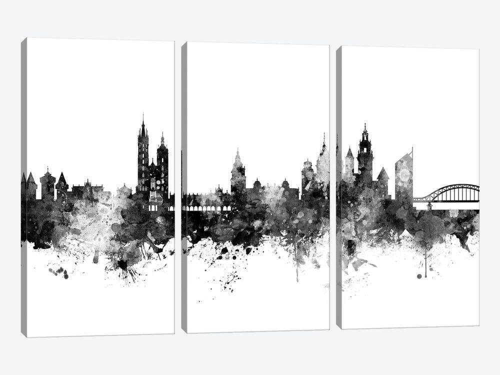 Krakow, Poland Skyline In Black & White by Michael Tompsett 3-piece Canvas Art