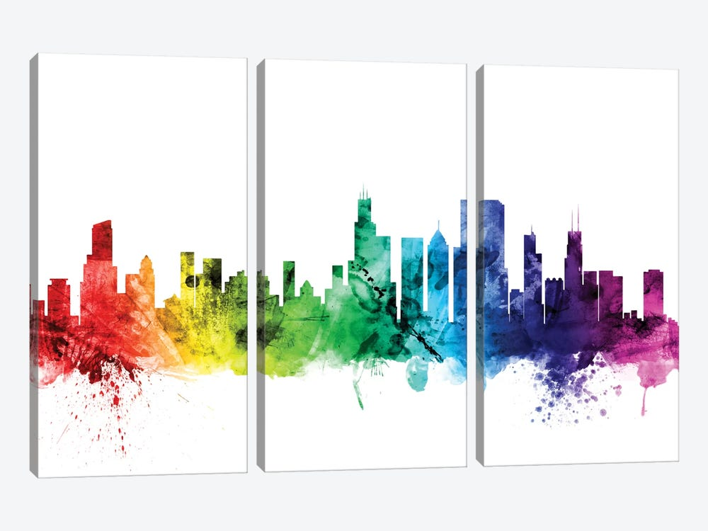 Chicago, Illinois, USA by Michael Tompsett 3-piece Canvas Art