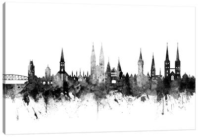 Lubeck, Germany Skyline In Black & White Canvas Art Print