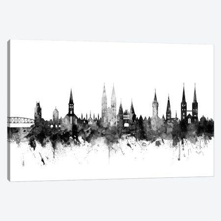 Lubeck, Germany Skyline In Black & White Canvas Print #MTO952} by Michael Tompsett Art Print