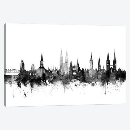 Lubeck, Germany Skyline In Black & White Canvas Print #MTO952} by Michael Tompsett Art Print