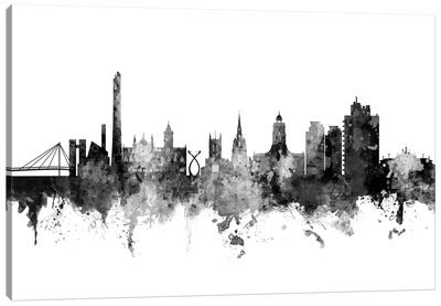 Northampton, England Skyline In Black & White Canvas Art Print