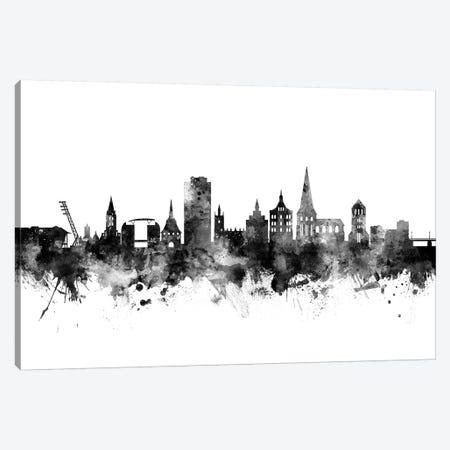 Rostock, Germany Skyline In Black & White Canvas Print #MTO956} by Michael Tompsett Canvas Artwork