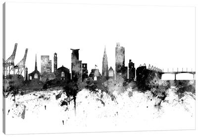 Southampton, England Skyline In Black & White Canvas Art Print