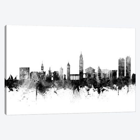 Split, Croatia Skyline In Black & White Canvas Print #MTO958} by Michael Tompsett Art Print