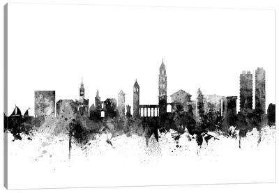 Split, Croatia Skyline In Black & White Canvas Art Print