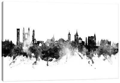 St, Andrews Scotland Skyline In Black & White Canvas Art Print
