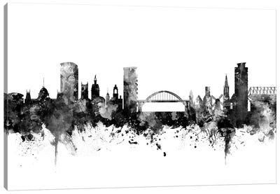 Sunderland, England Skyline In Black & White Canvas Art Print