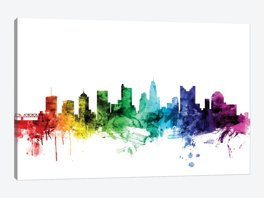 Rainbow Skyline Series: Columbus, Ohio, USA by Michael Tompsett 1-piece Canvas Wall Art
