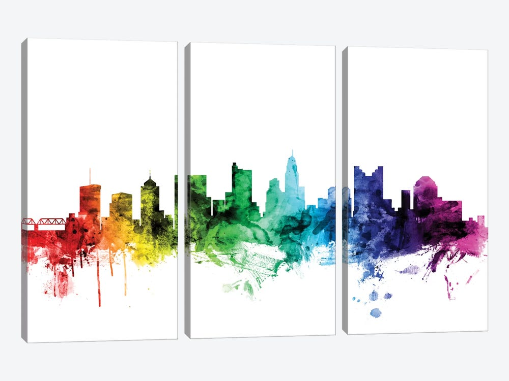 Rainbow Skyline Series: Columbus, Ohio, USA by Michael Tompsett 3-piece Canvas Wall Art