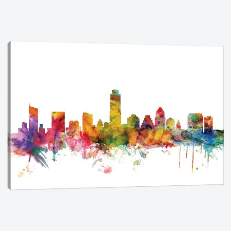 Austin, Texas Skyline Canvas Print #MTO976} by Michael Tompsett Canvas Wall Art