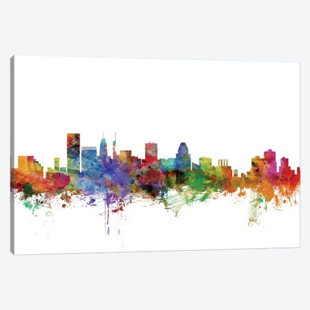 Baltimore, Maryland Skyline Canvas Print #MTO977} by Michael Tompsett Canvas Wall Art