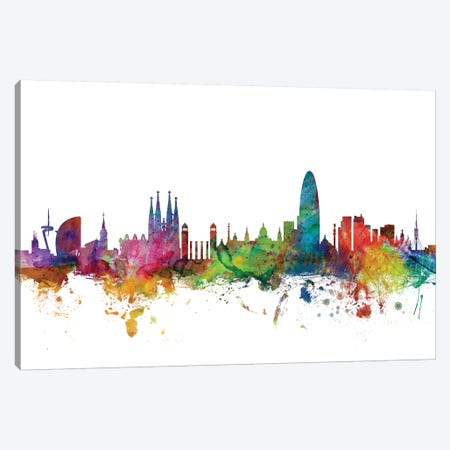 Barcelona, Spain Skyline Canvas Print #MTO979} by Michael Tompsett Canvas Print