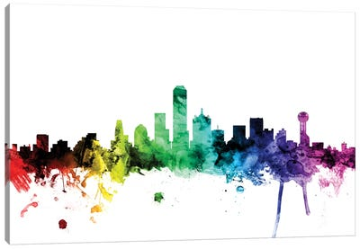 Rainbow Skyline Series: Dallas, Texas, USA Canvas Art Print