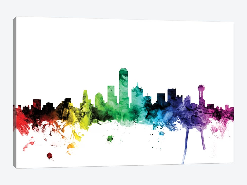 Rainbow Skyline Series: Dallas, Texas, USA by Michael Tompsett 1-piece Art Print