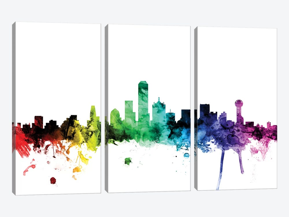 Rainbow Skyline Series: Dallas, Texas, USA by Michael Tompsett 3-piece Canvas Art Print