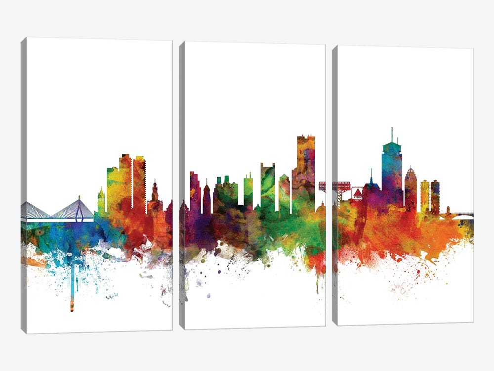 Boston, Massachusetts Skyline by Michael Tompsett 3-piece Canvas Wall Art