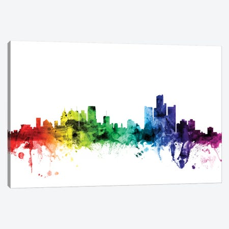 Detroit, Michigan, USA Canvas Print #MTO98} by Michael Tompsett Canvas Wall Art