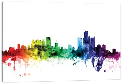 Rainbow Skyline Series: Detroit, Michigan, USA Canvas Art Print