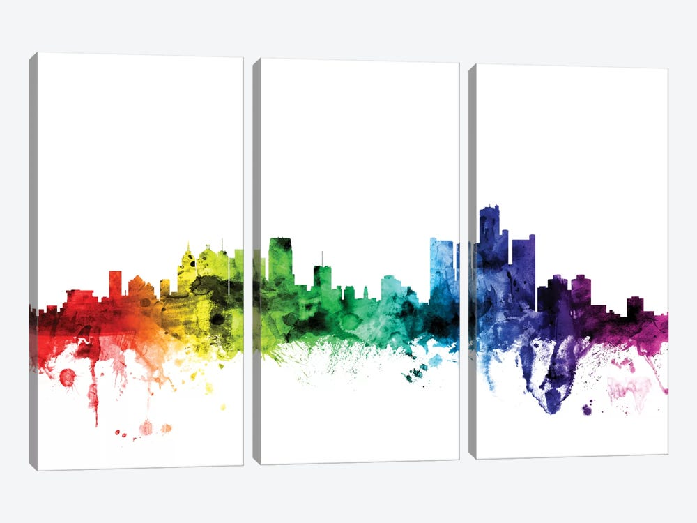 Detroit, Michigan, USA by Michael Tompsett 3-piece Canvas Art