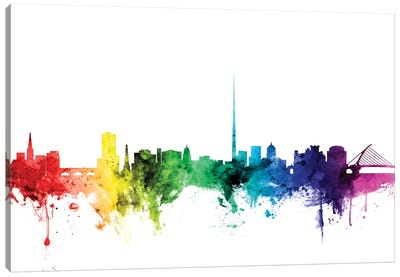 Rainbow Skyline Series: Dublin, Republic Of Ireland Canvas Print #MTO99