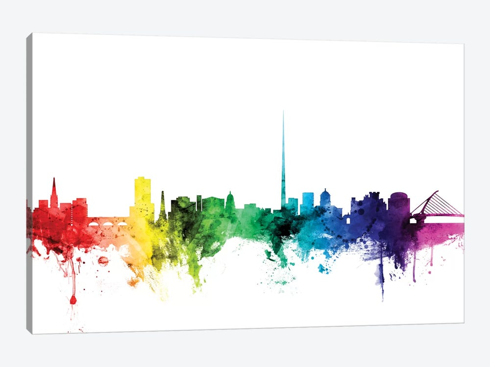 Rainbow Skyline Series: Dublin, Republic Of Ireland by Michael Tompsett 1-piece Canvas Art Print